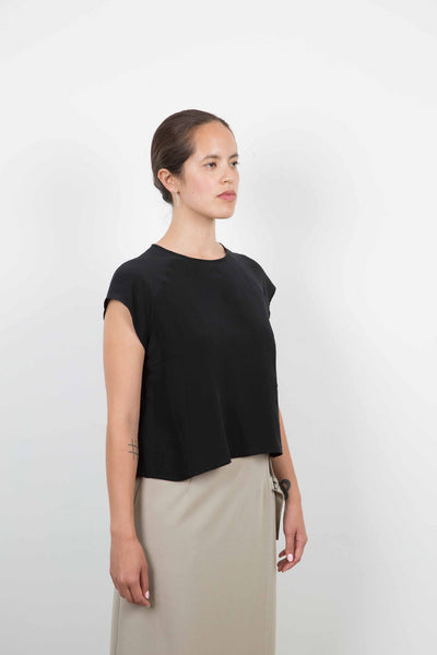 Abi Top / Black Washed Silk