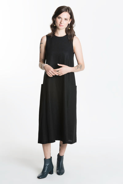 Barra Dress / Black Linen