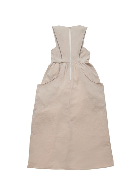 Buster Bib Dress / Tan Twill