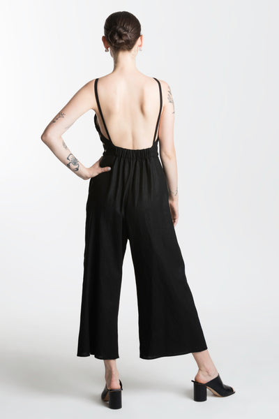 Leeward Jumpsuit / Black Linen