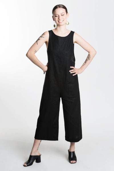 Veen Jumpsuit / Black Linen