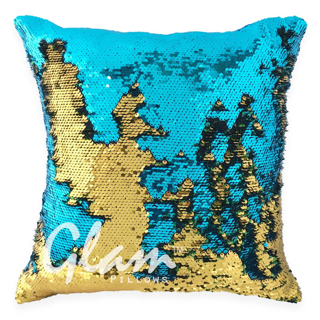 Aqua & Gold Reversible Sequin Glam Pillow