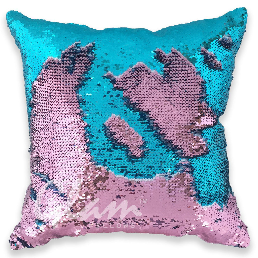 Rose Gold & Aqua Reversible Sequin Glam Pillow