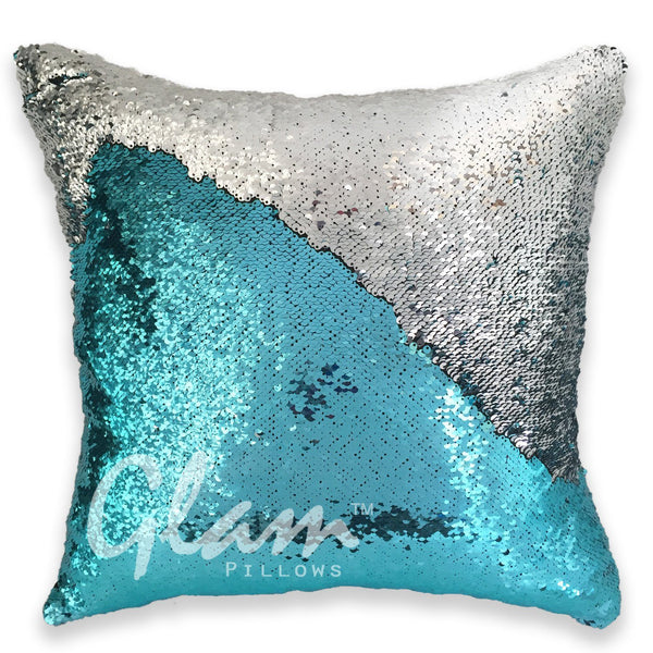 Aqua Amp Silver Reversible Sequin Glam Pillow Glam Pillows