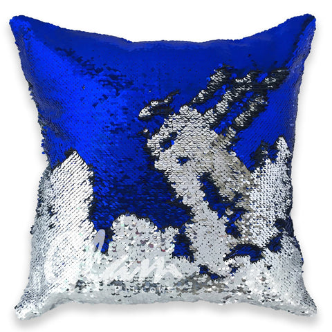 Sapphire Blue & Silver Reversible Sequin Glam Pillow