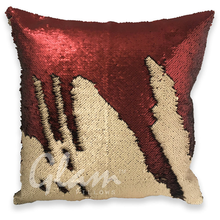 Matte Champagne & Burgundy Reversible Sequin Glam Pillow