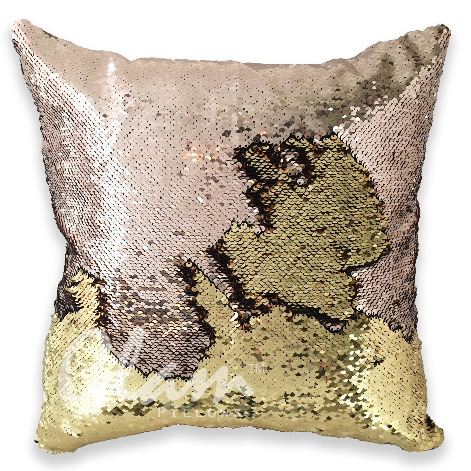 champagne u0026 gold reversible sequin glam pillow