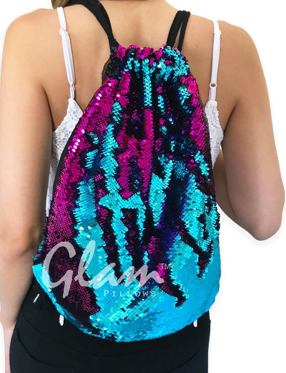 Fuchsia & Aqua Reversible Sequin Drawstring Glam Bag