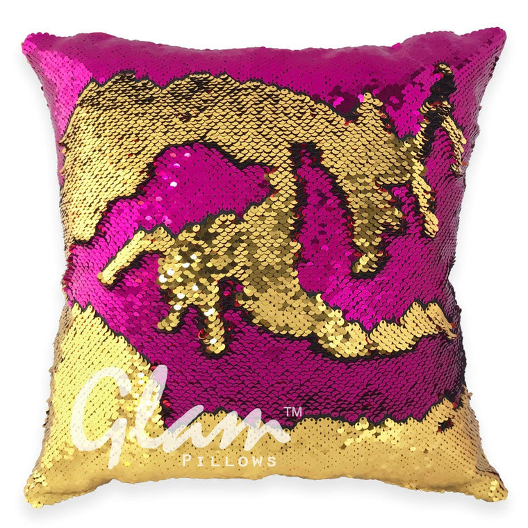 Fuchsia & Gold Reversible Sequin Glam Pillow