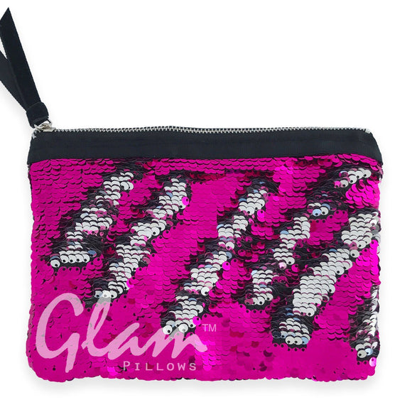 Fuchsia & Silver Reversible Sequin Glam Clutch