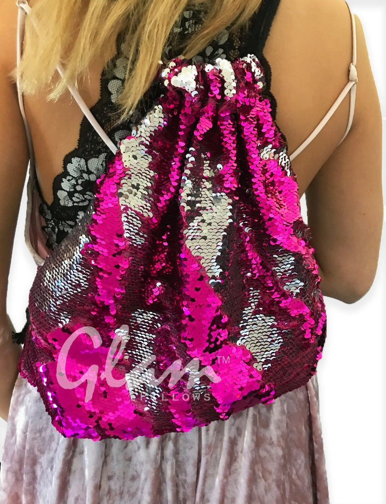 Fuchsia & Silver Reversible Sequin Drawstring Glam Bag