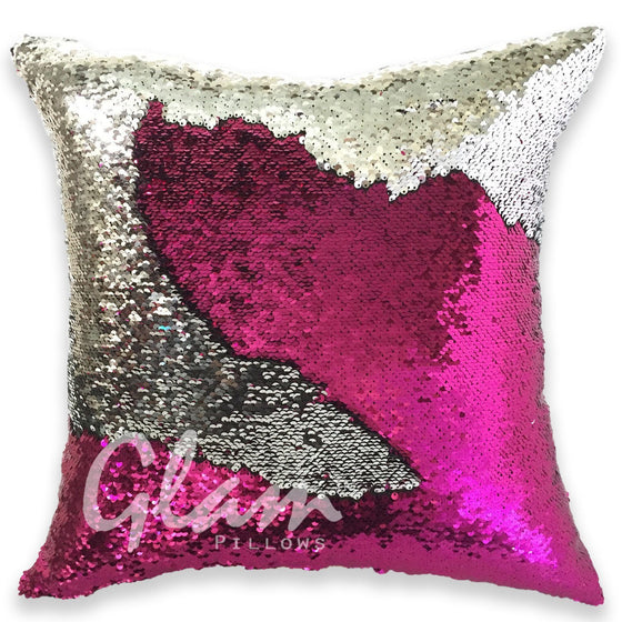 Fuchsia & Silver Reversible Sequin Glam Pillow