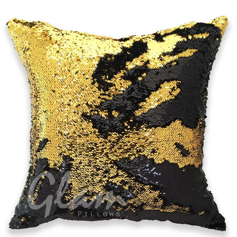 Gold & Black Reversible Sequin Glam Pillow