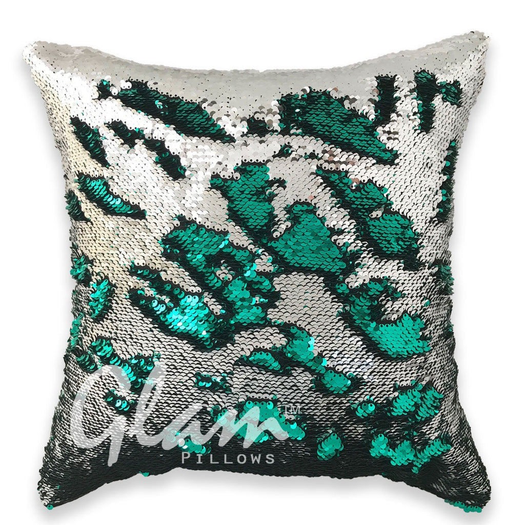 Emerald Green & Silver Reversible Sequin Glam Pillow