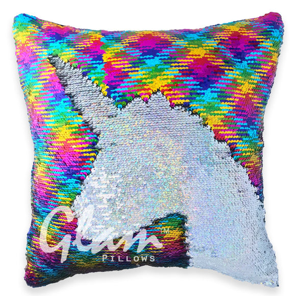 Holographic Rainbow Reversible Sequin Glam Pillow