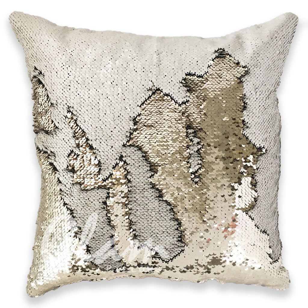 Ivory & Beige Reversible Sequin Glam Pillow