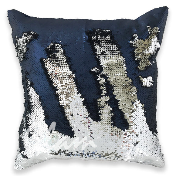 Midnight Blue & Silver Reversible Sequin Glam Pillow