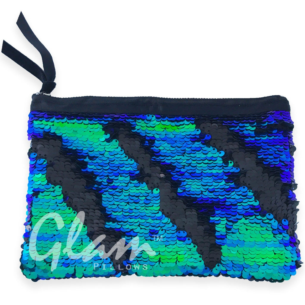 Mermaid Tail & Matte Black Reversible Sequin Glam Clutch