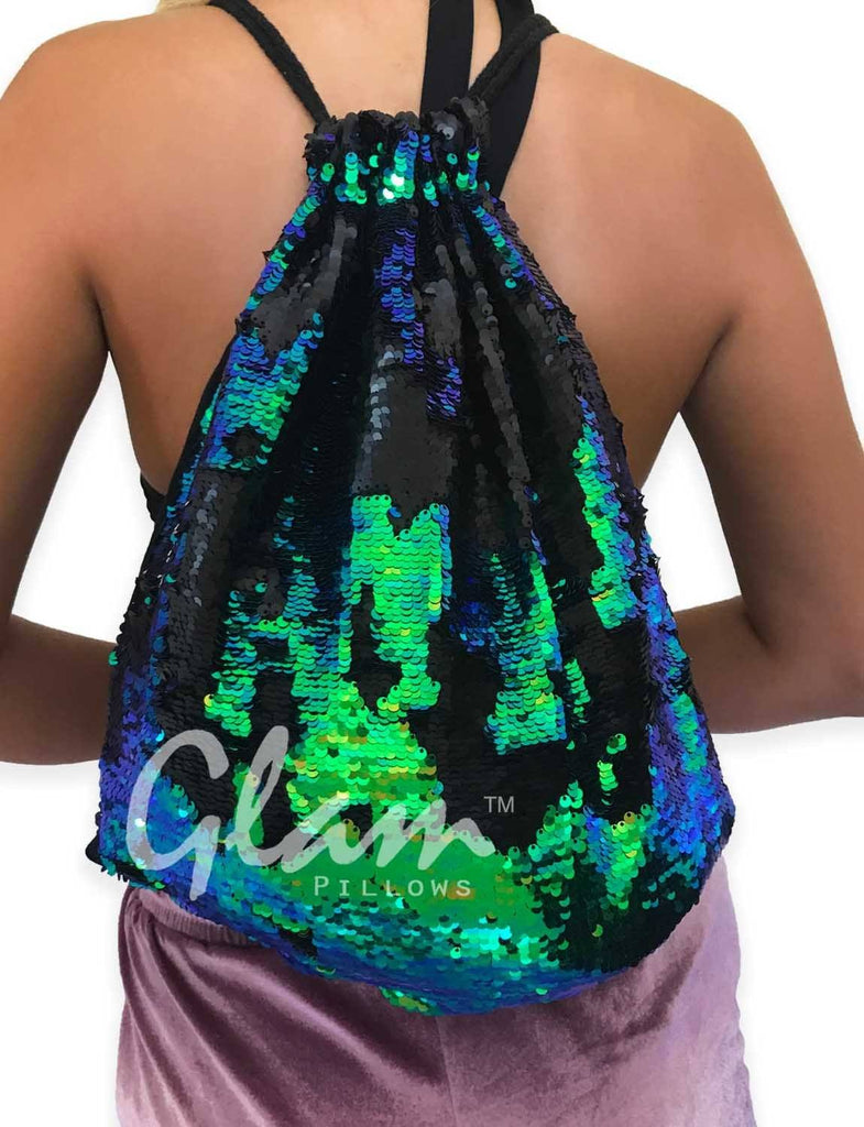 Mermaid Tail & Matte Black Reversible Sequin Drawstring Glam Bag
