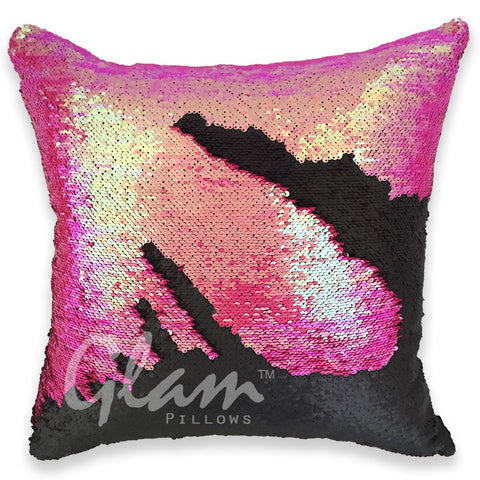 Mermaid Pink & Matte Black Reversible Sequin Glam Pillow