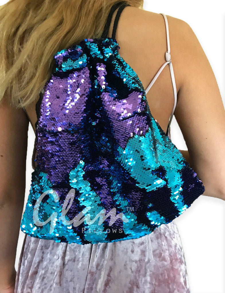 Aqua & Purple Reversible Sequin Drawstring Glam Bag