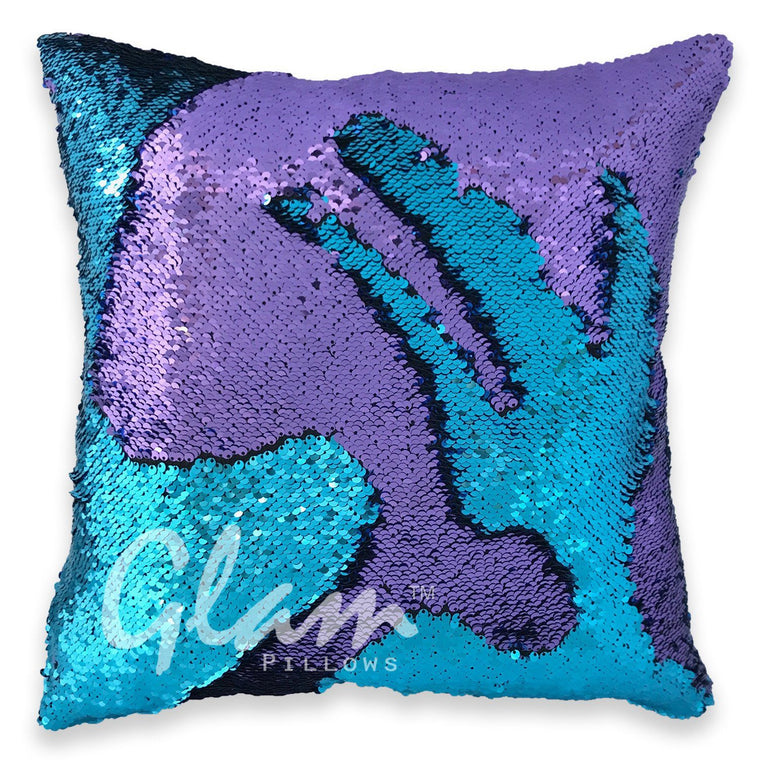 Aqua & Purple Reversible Sequin Glam Pillow