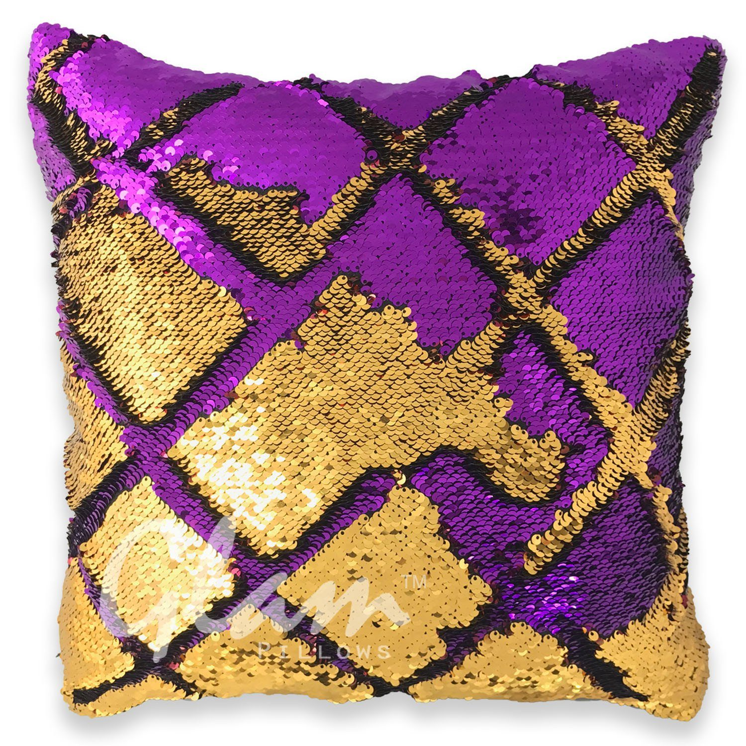 Purple & Gold Reversible Sequin Glam Pillow - Glam Pillows - photo#38