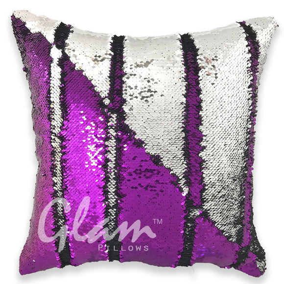 Purple & Silver Reversible Sequin Glam Pillow