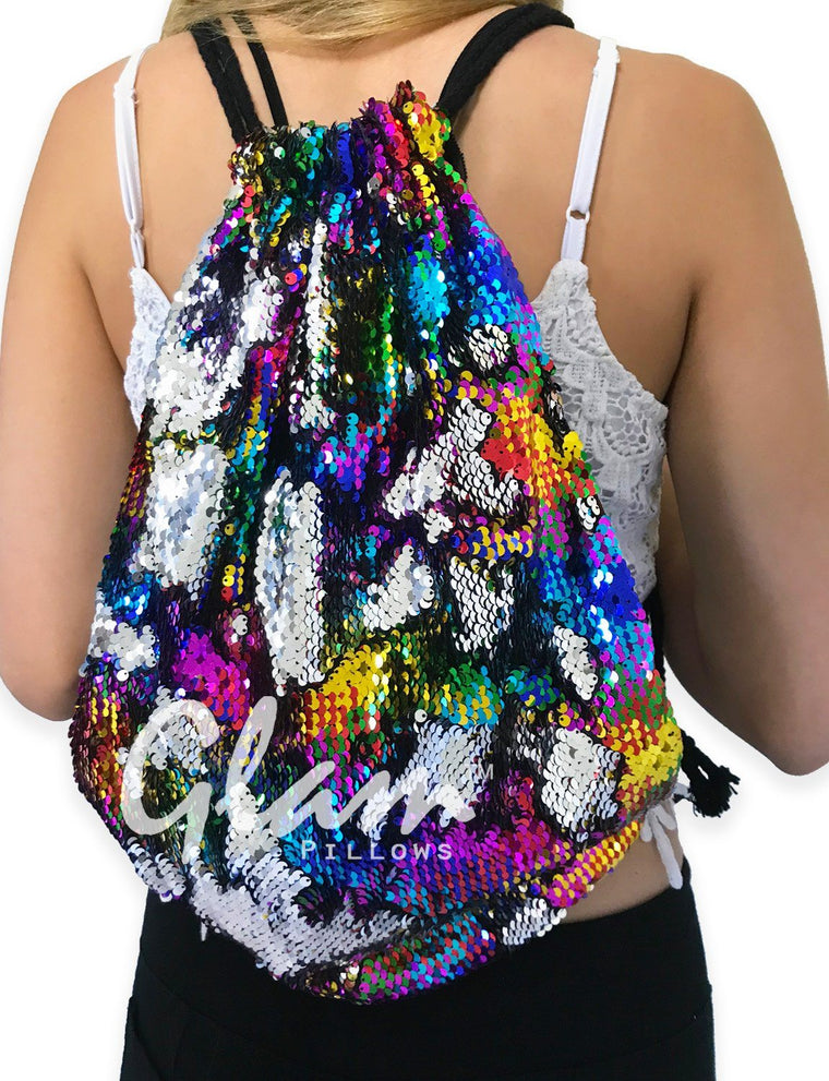 Rainbow & Silver Reversible Sequin Drawstring Glam Bag