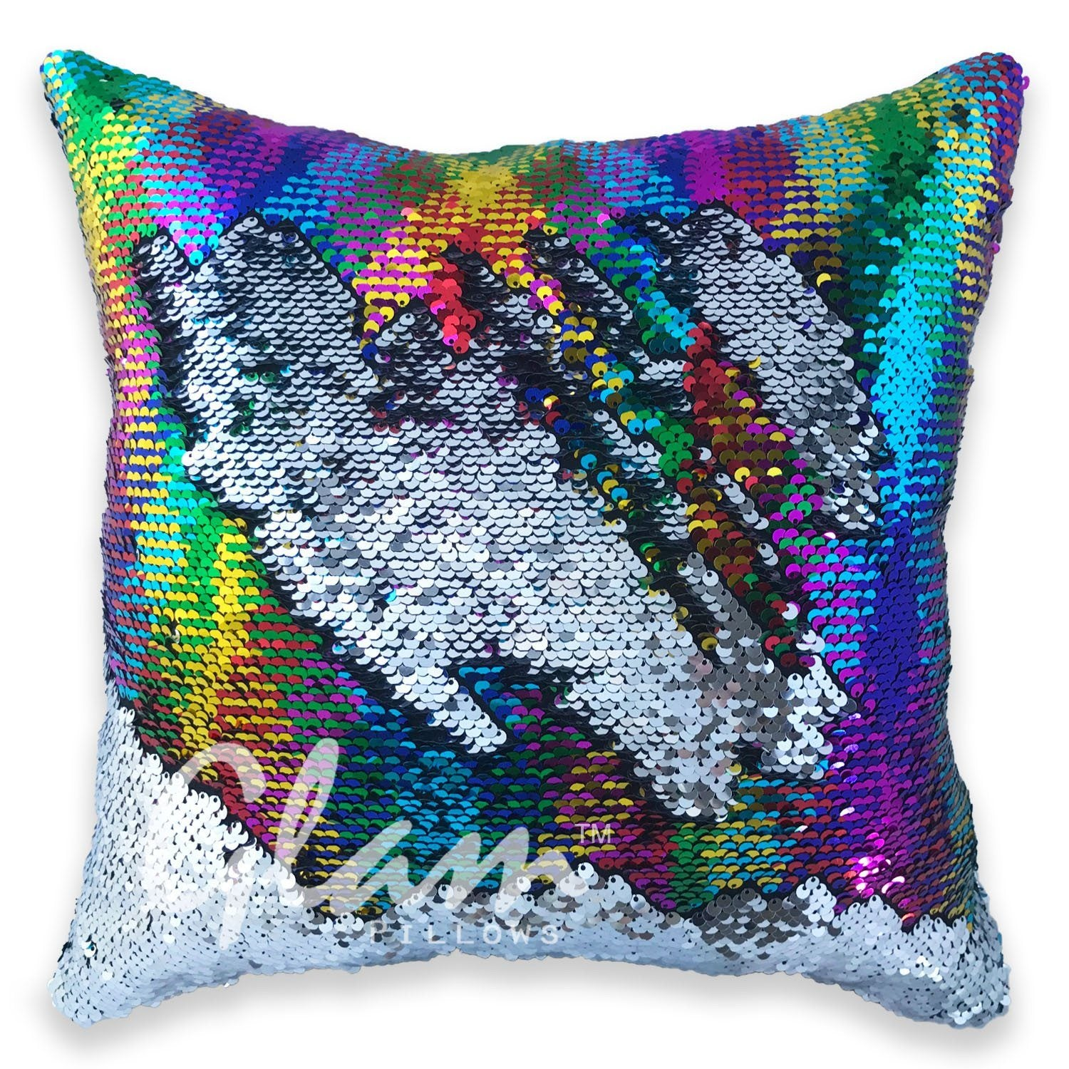 rainbow silver reversible sequin glam pillow limited edition