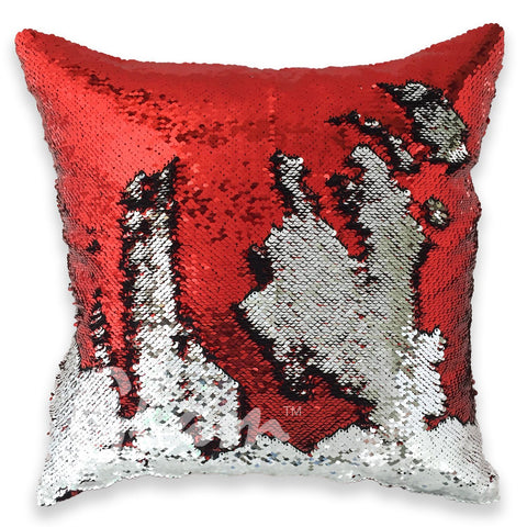 Ruby Red & Silver Reversible Sequin Glam Pillow