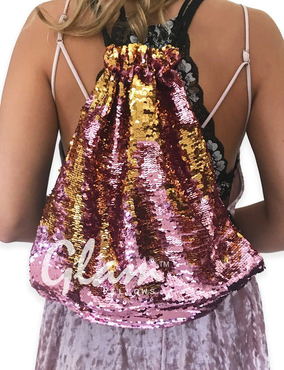 Rose Gold & Gold Reversible Sequin Drawstring Glam Bag