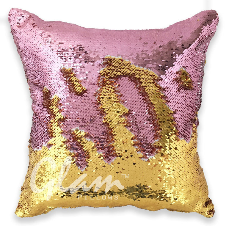 Rose Gold & Gold Reversible Sequin Glam Pillow