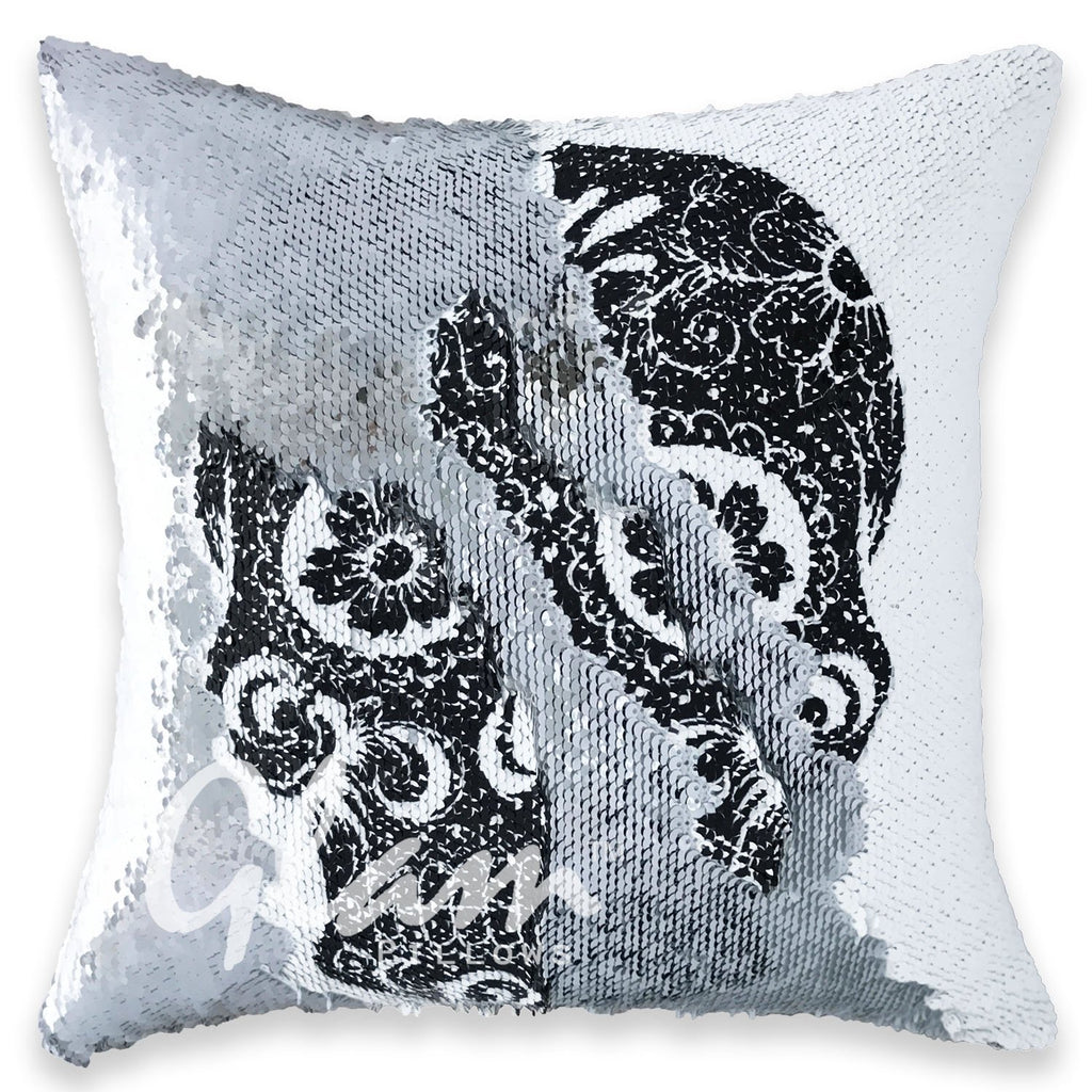 Sugar Skull & Silver Reversible Sequin Glam Pillow