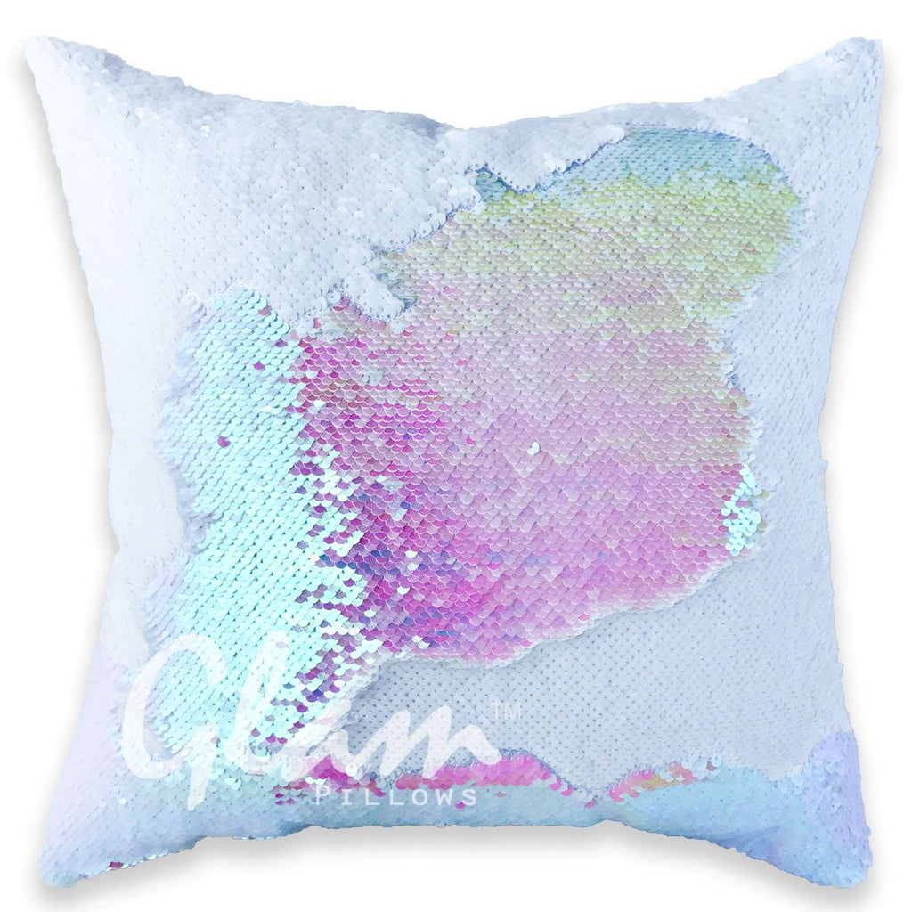 White & Iridescent Reversible Sequin Glam Pillow