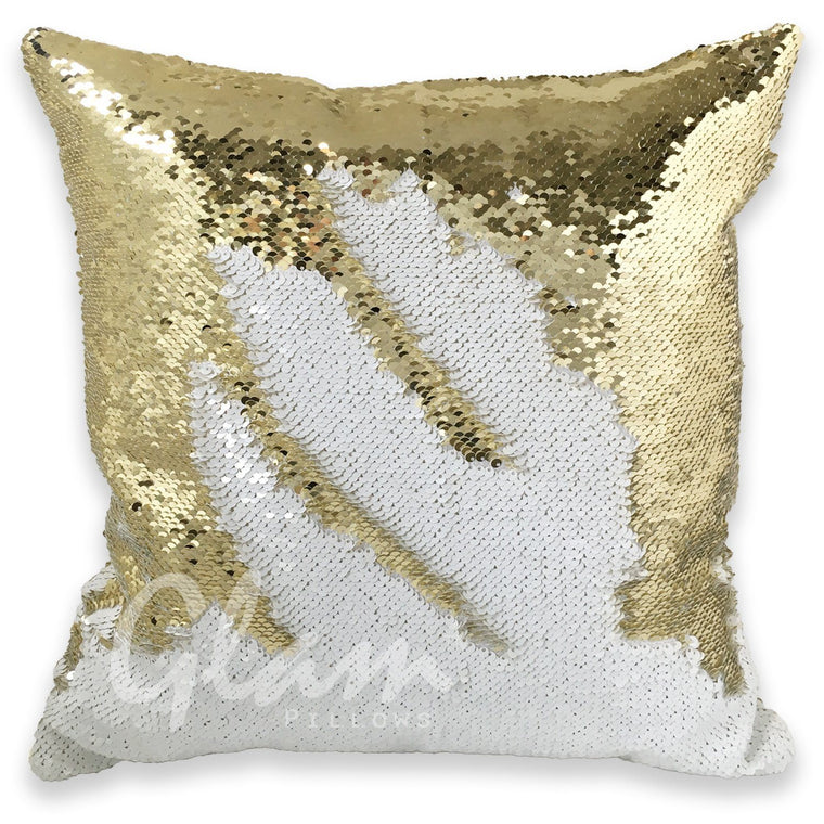 White & Gold Reversible Sequin Glam Pillow