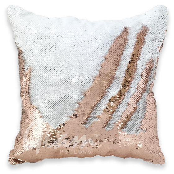 White & Bronze Reversible Sequin Glam Pillow