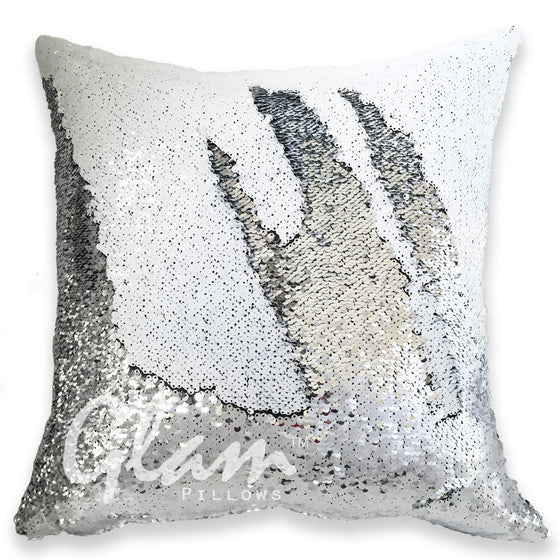 White & Silver Reversible Sequin Glam Pillow
