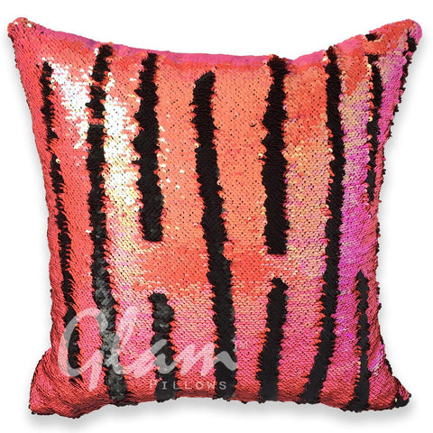 Mermaid Coral & Matte Black Reversible Sequin Glam Pillow