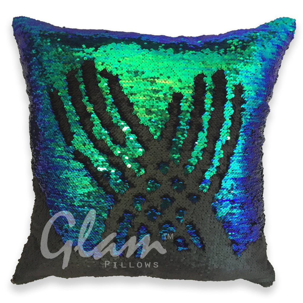 Mermaid Tail & Matte Black Reversible Sequin Glam Pillow