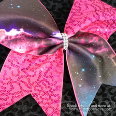 Galaxy Print and Pink Sequin Cheer Bow - Bling Bow Love - 4