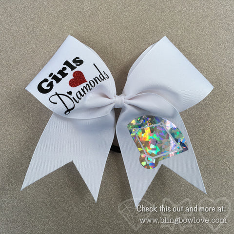 Girls Love Diamonds - Softball Bow - White - Bling Bow Love - 1