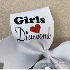 Girls Love Diamonds - Softball Bow - White - Bling Bow Love - 2