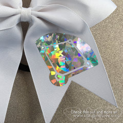 Girls Love Diamonds - Softball Bow - White - Bling Bow Love - 3