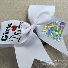 Girls Love Diamonds - Softball Bow - White - Bling Bow Love - 4