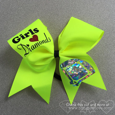 Girls Love Diamonds - Softball Bow - Neon Yellow - Bling Bow Love - 1