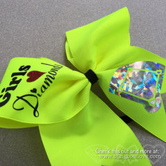 Girls Love Diamonds - Softball Bow - Neon Yellow - Bling Bow Love - 2