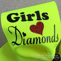 Girls Love Diamonds - Softball Bow - Neon Yellow - Bling Bow Love - 3