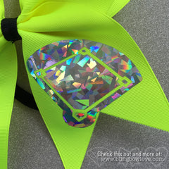 Girls Love Diamonds - Softball Bow - Neon Yellow - Bling Bow Love - 4