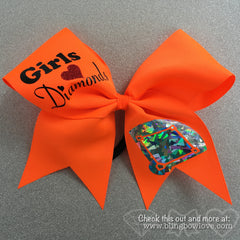 Softball Bow, Girls Love Diamonds Neon Orange - Bling Bow Love - 1